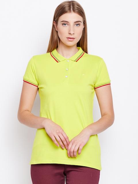 Monte Carlo Women Yellow Solid Polo Collar T-shirt