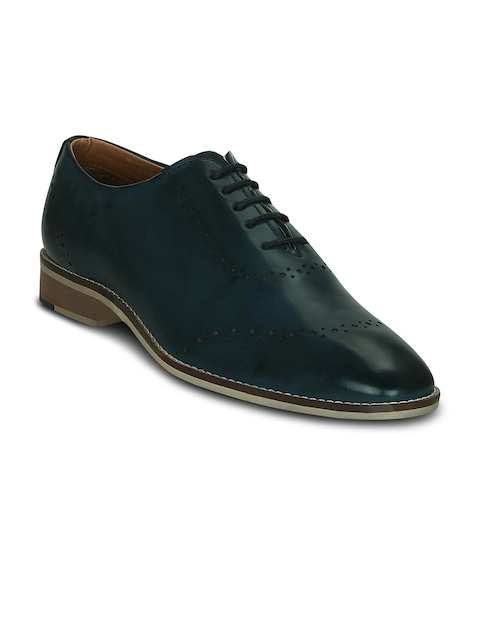 Get Glamr Men Teal Blue Formal Oxford Shoes