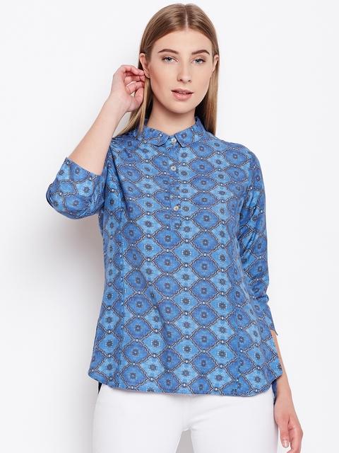 Monte Carlo Women Blue Printed Shirt Style Top