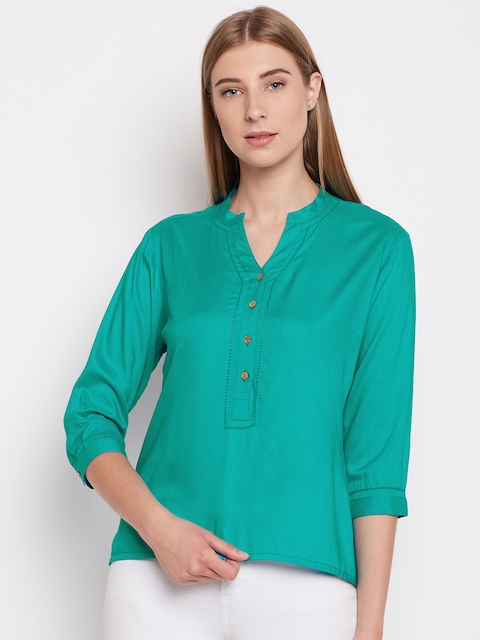 Monte Carlo Women Turquoise Blue Solid Shirt Style Top