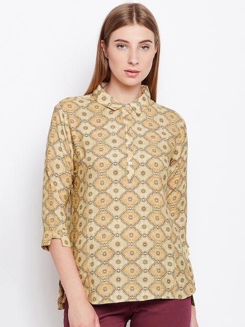 Monte Carlo Women Beige Printed Shirt Style Top
