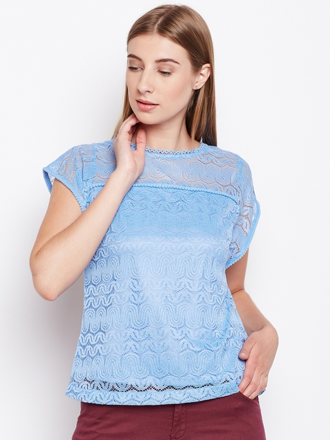 Monte Carlo Women Blue Lace Top