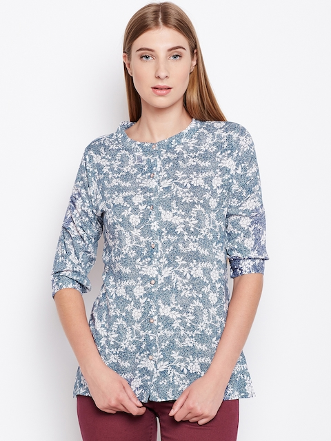 Monte Carlo Women Blue Printed Top