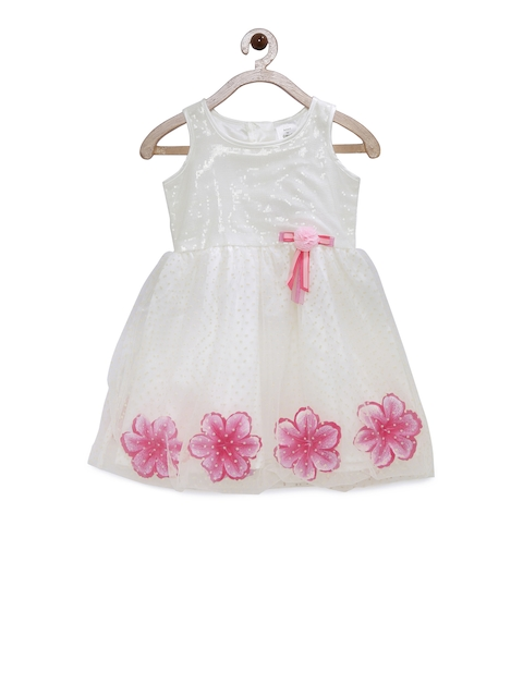 Doodle Girls Off-White & Pink Embellished A-Line Dress