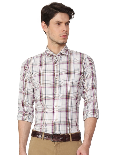 Peter England Casuals Men Beige Slim Fit Checked Casual Shirt