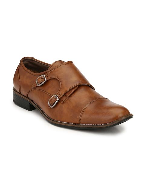 Sir Corbett Men Tan Solid Monk Shoes