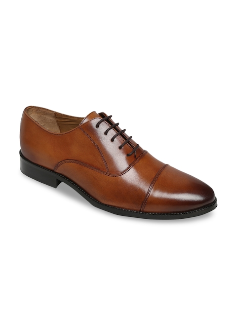 BRUNE Men Tan Brown Leather Formal Monk Shoes