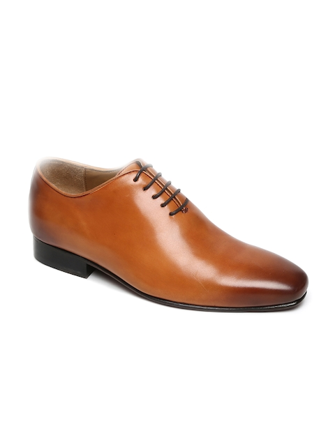 BRUNE Men Tan Brown Leather Formal Oxfords