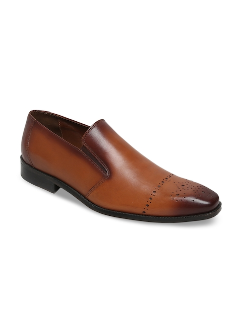 BRUNE Men Tan Brown Leather Formal Slip-On Shoes