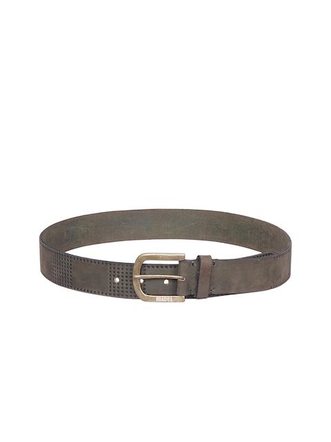 Justanned Men Olive Green Textured Belt