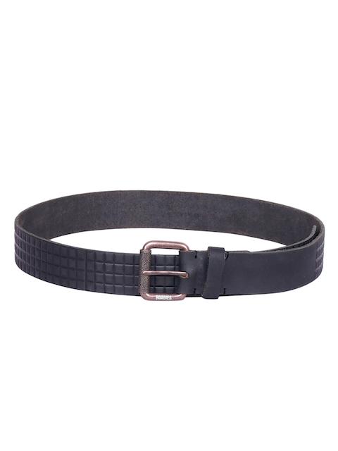Justanned Men Black Textured Belt