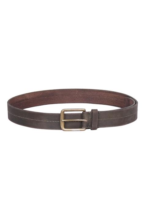 Justanned Men Olive Green Solid Belt