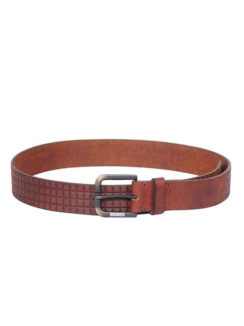 Justanned Men Brown Textured Belt