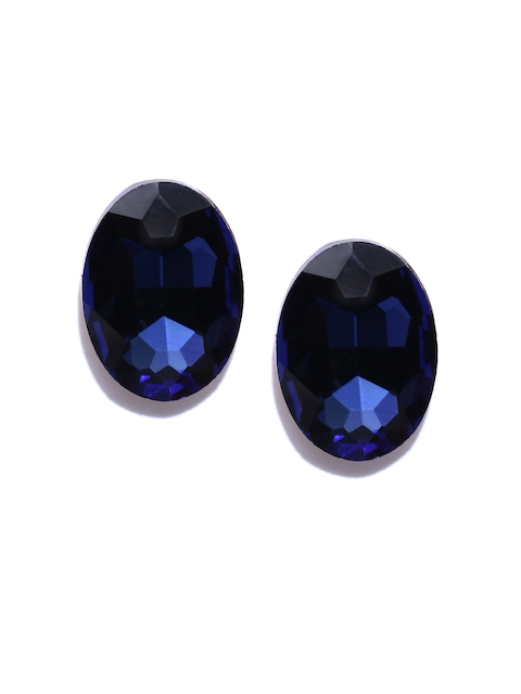 Jewels Galaxy Navy Gold-Plated Oval Stone Studs