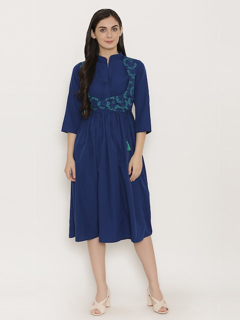 MABISH by Sonal Jain Women Navy Blue Solid Fit and Flare Dress