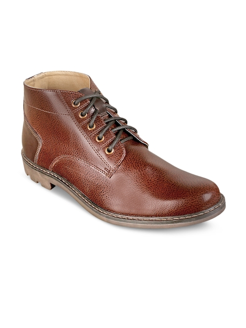 Knotty Derby Men Brown Solid Synthetic Leather Mid-Top Flat Boots