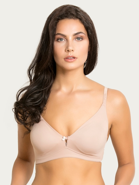 Zivame Beige Solid Non-Wired Non Padded T-shirt Bra