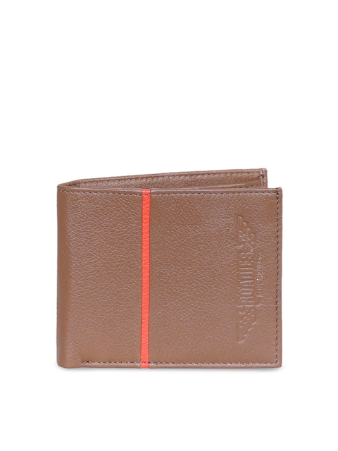 Justanned Men Tan Textured Two Fold Leather Wallet