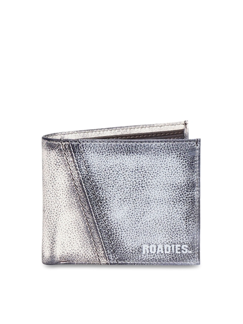 Justanned Men Beige & Grey Textured Two Fold Leather Wallet
