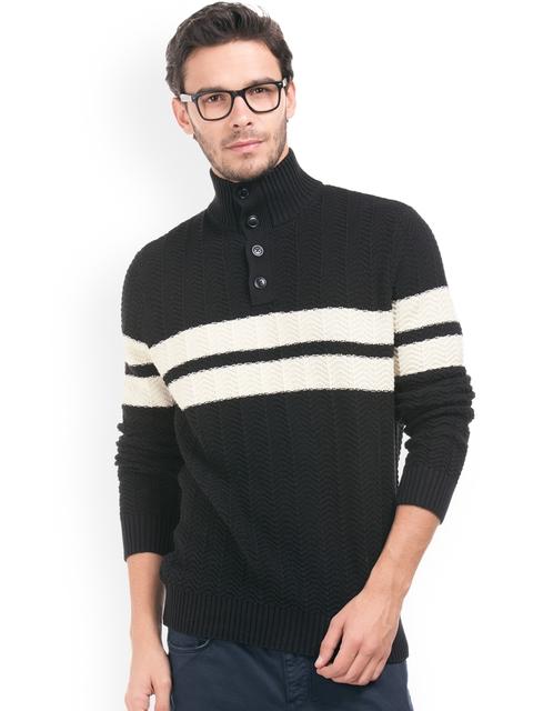 Nautica Men Black & Off-White Striped Pullover