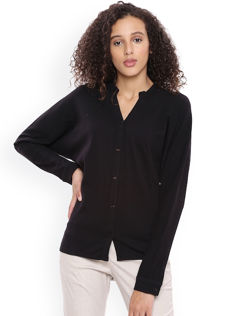Arrow Woman Black Solid Shirt Style Top