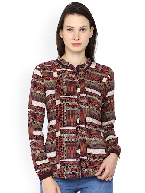 Arrow Woman Brown Printed Shirt Style Top