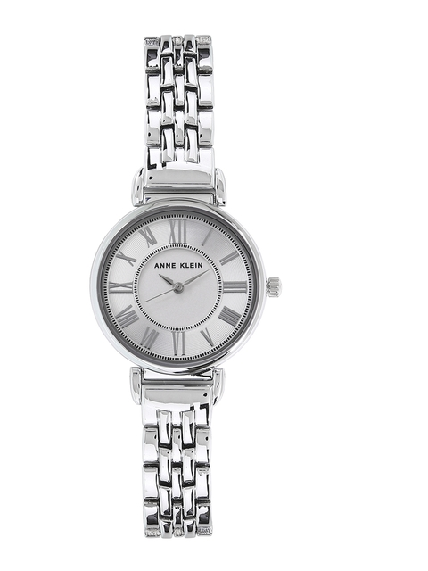 ANNE KLEIN Women Silver-Toned & White Analogue Watch