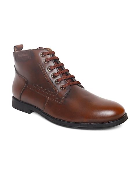 San Frissco Men Brown Solid Mid-Top Flat Boots