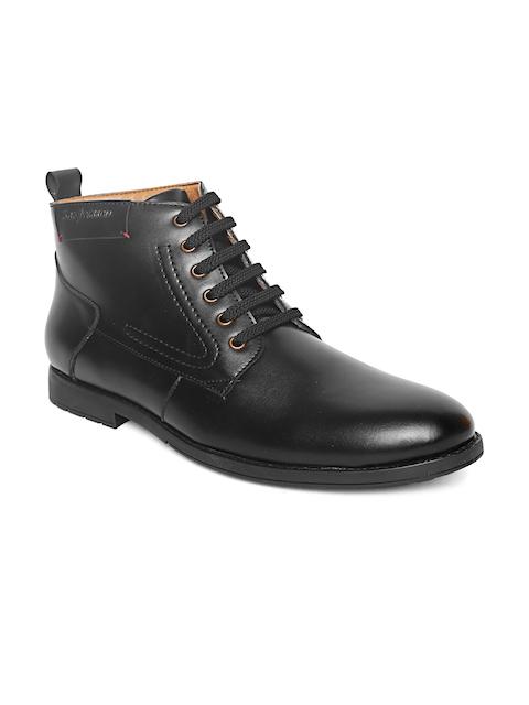 San Frissco Men Black Solid Mid-Top Flat Boots