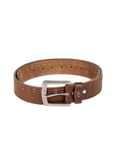 SPYKAR Men Brown Woven Design Genuine Leather Belt