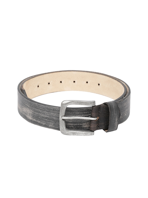 SPYKAR Men Black Textured Leather Belt