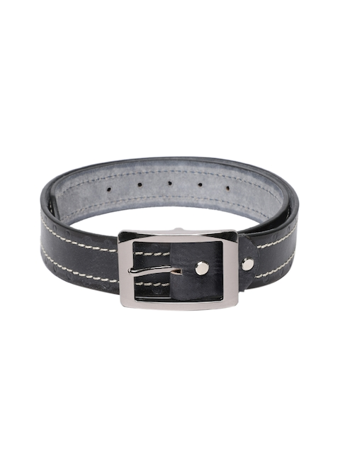 SPYKAR Men Black & Grey Solid Leather Belt
