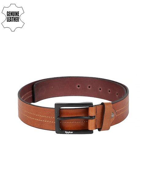 SPYKAR Men Tan Solid Genuine Leather Belt