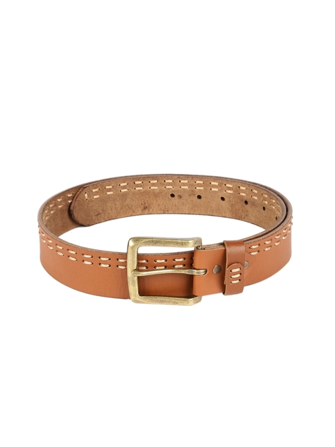 SPYKAR Men Tan Brown Woven Design Genuine Leather Belt