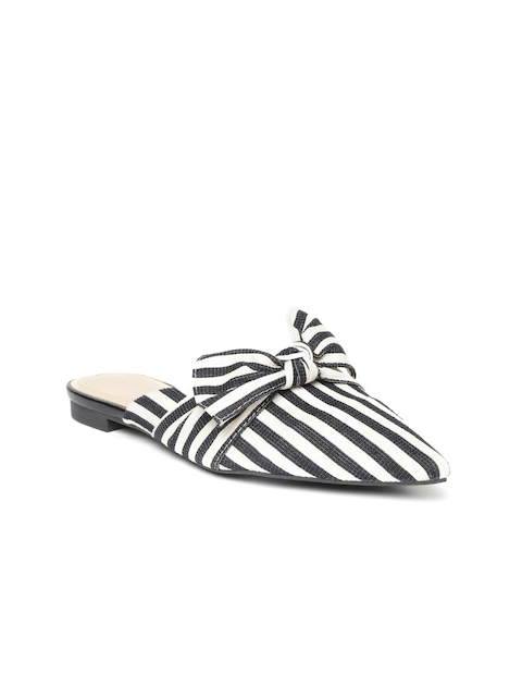 FOREVER 21 Women Black & Off-White Striped Mules