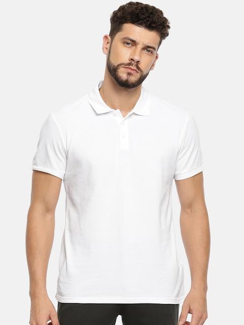 FOREVER 21 Men White Solid Polo Collar T-shirt