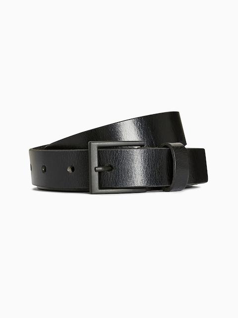 next Men Black Solid Leather Belt