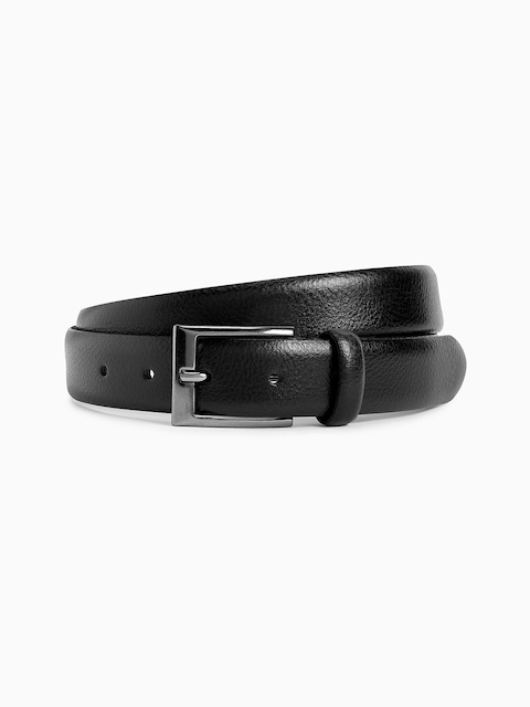next Men Black Leather Solid Belt