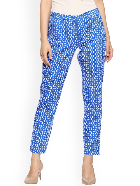 Allen Solly Woman Blue & White Regular Fit Printed Regular Cropped Trousers