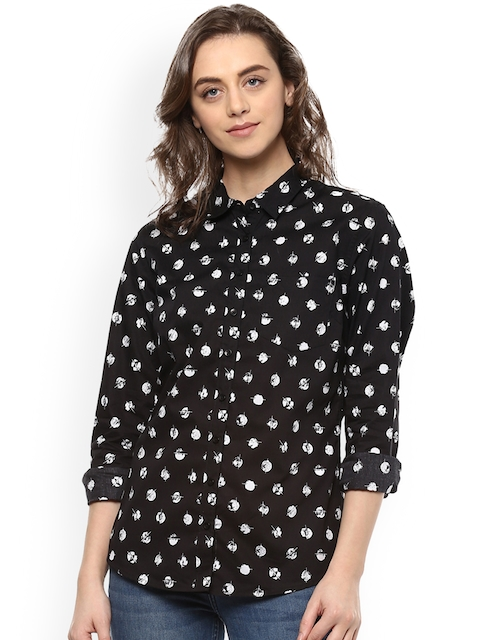 Allen Solly Woman Black & White Regular Fit Printed Casual Shirt