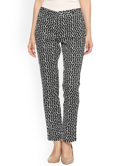 Allen Solly Woman Black & White Regular Fit Printed Regular Trousers