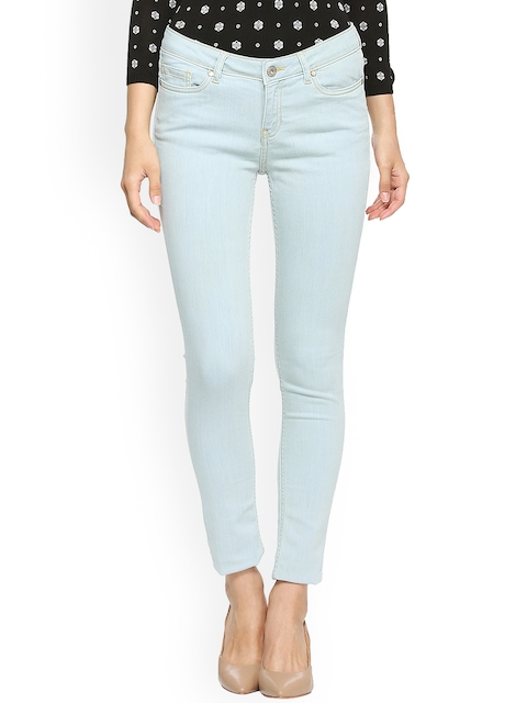 Allen Solly Woman Blue Slim Fit Mid-Rise Clean Look Cropped Jeans