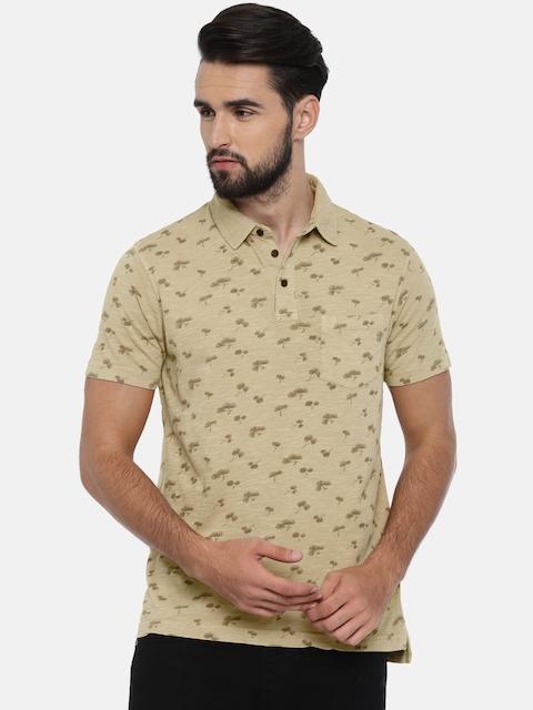 Indian Terrain Men Beige Printed Polo Collar T-shirt