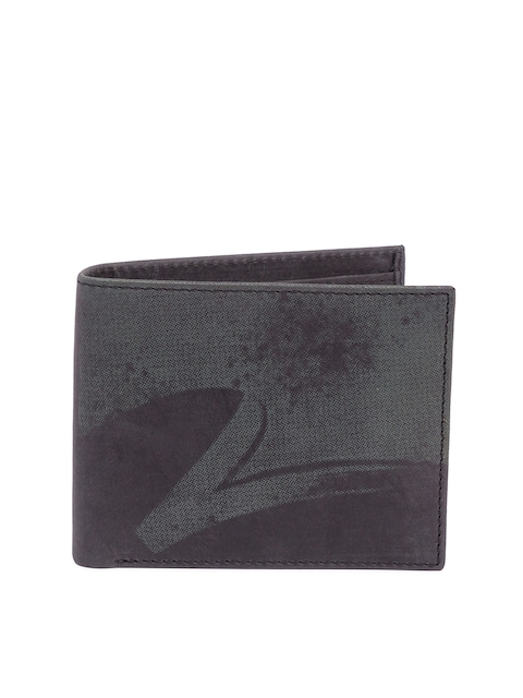 SPYKAR Men Coffee Brown Printed Two Fold Leather Wallet
