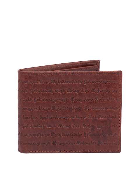 SPYKAR Men Brown Textured Two Fold Leather Wallet