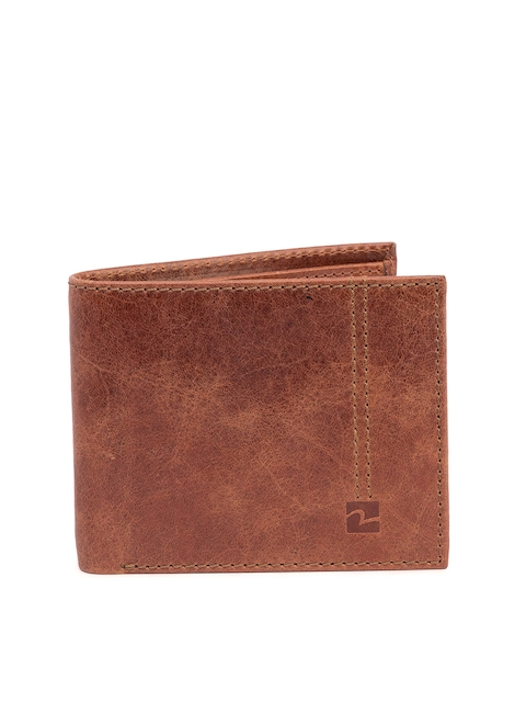 SPYKAR Men Tan Brown Solid Two Fold Leather Wallet