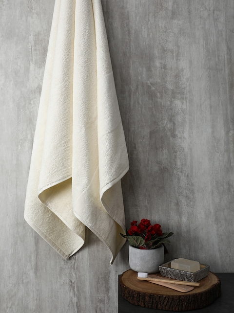 Pure Home and Living Off-White Solid Bath Towel