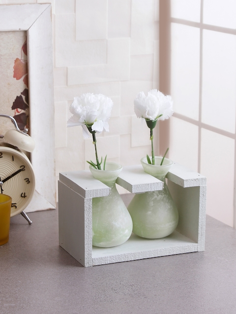 Fourwalls Off-White & Green Solid Ceramic Vases With Frame