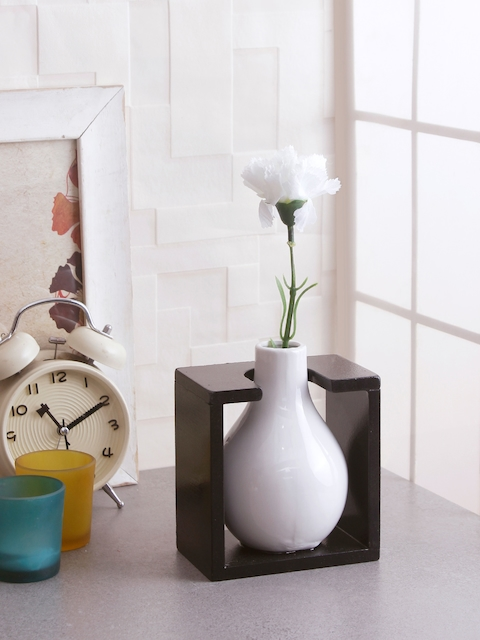 Fourwalls White & Brown Solid Ceramic Vase With Frame