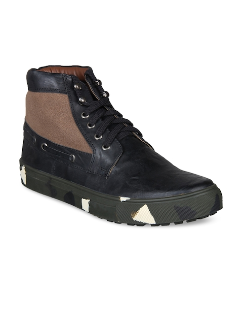 Knotty Derby Men Black Colourblocked Synthetic Leather Mid-Top Flat Boots
